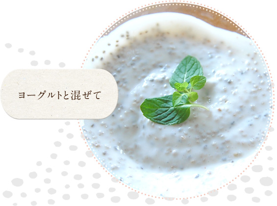 ホワイトチアシードの食べ方(ヨーグルトと混ぜる)