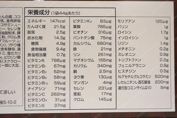 ダイエットミールチョコレート味の栄養面